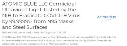 ATOMIC-BLUE-LLC-Germicidal-Ultraviolet-Light-Tested-by-the-NIH-to-Eradicate-COVID-19-Virus-by-99-9999--from-N95-Masks-and-Steel-Surfaces