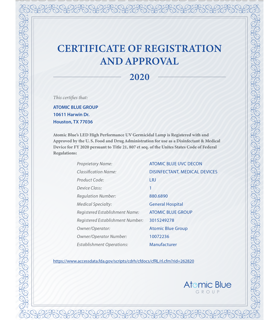 Certificate of Registration and  Approval